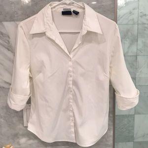 Cotton Express White Stretch Button Up Shirt Sz L